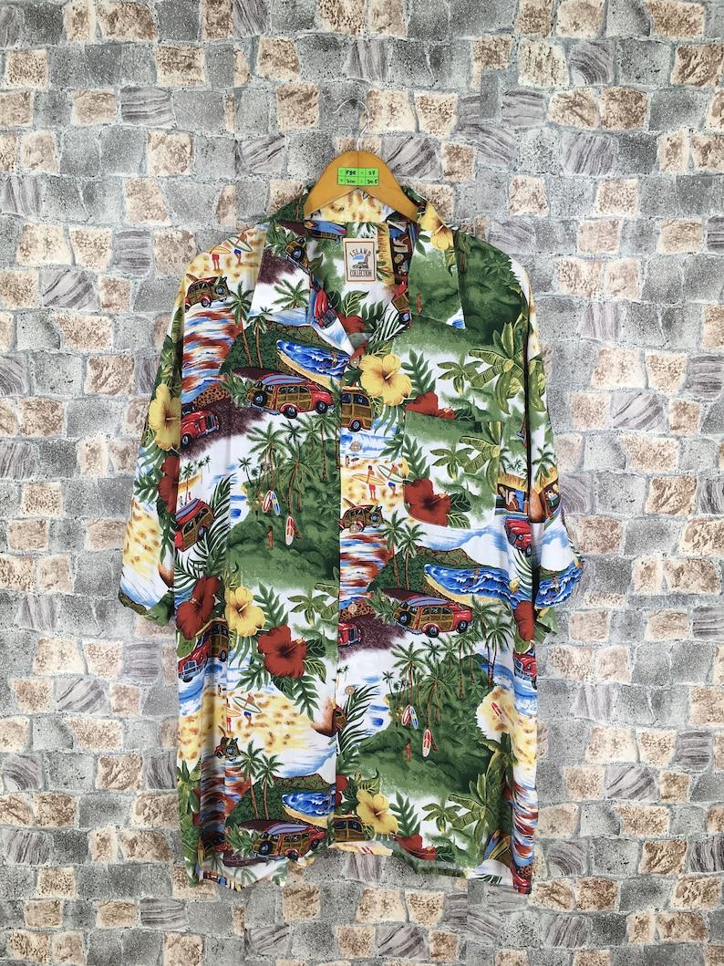 6c05fd078 ISLAND COLLECTION Button Up Aloha Shirt Rayon Men XXLarge | Etsy