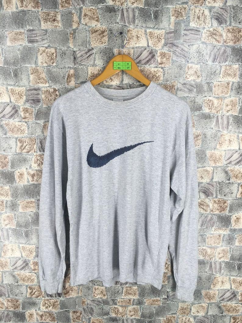 7dbafa19c62be Vintage 1990s NIKE Swoosh Tshirt Small Sportswear Streetwear Nike Air  Crewneck Tees Nike Athletic Wear Gray T shirt Size S