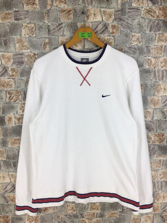 58816e6fee062 Vintage 1990s NIKE Swoosh Crewneck Jumper Women XLarge Nike Air Sportswear  Streetwear Pullover Nike Sweater White Sweatshirt Size XL