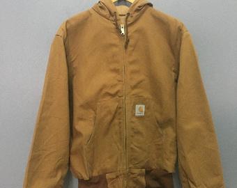 Vintage TIMBERLAND Chore Jacket Denim XLarge 80's French Workwear Blanket Lined Chore Coat Hunting Timberland Barn Jacket Brown Size XL XeeZsyhu