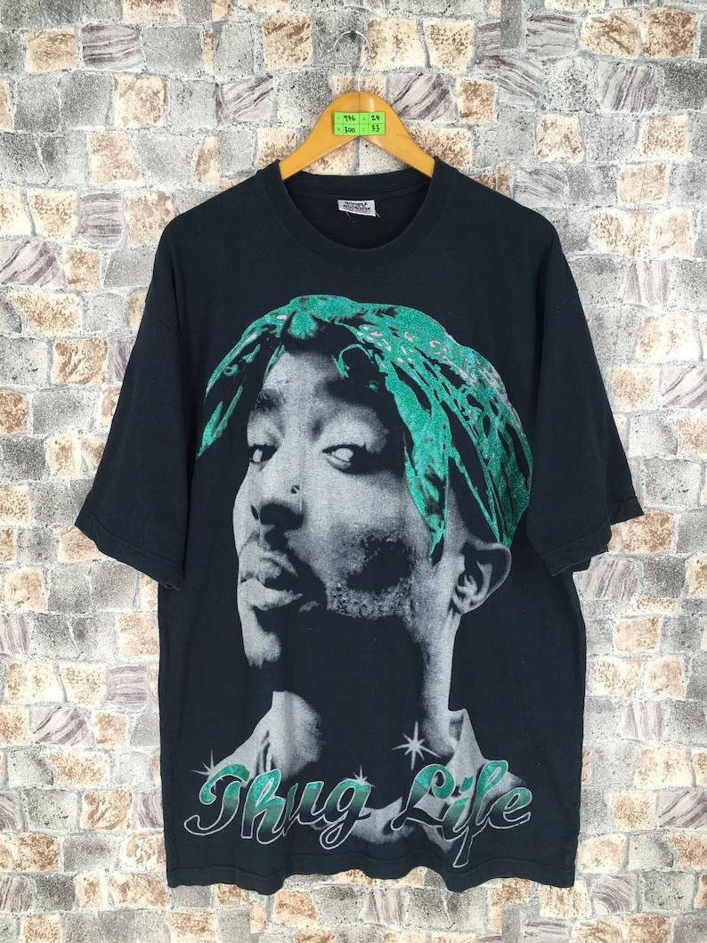 29892a1dd4f TUPAC Hip Hop Thug Life T shirt Black XXlarge Vintage 90 s