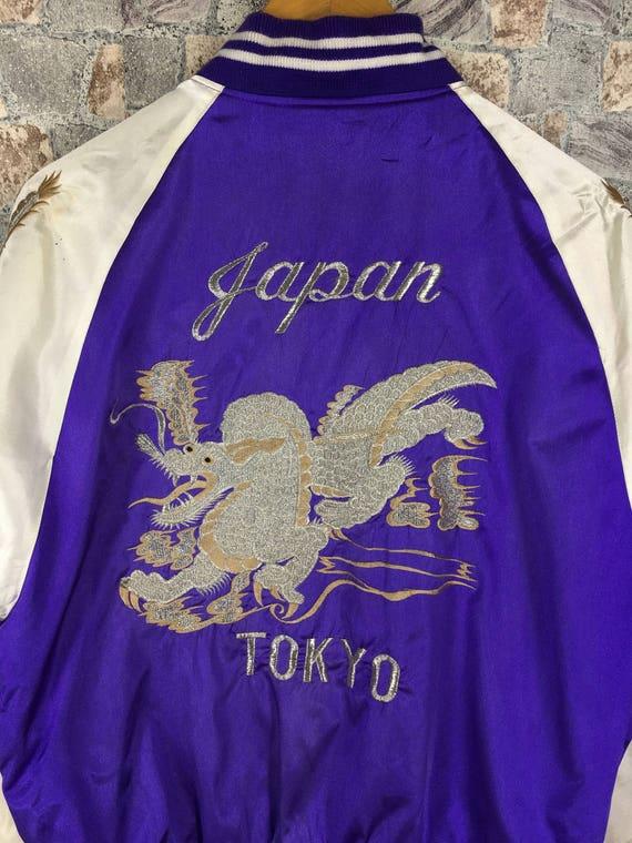 Large Satin Souvenir Japanese Dragon Japan Jacket Jacket Varsity Size L Embroidery SUKAJAN Tokyo 80s Sukajan SOUVENIR Vintage qwCE7vxnpP