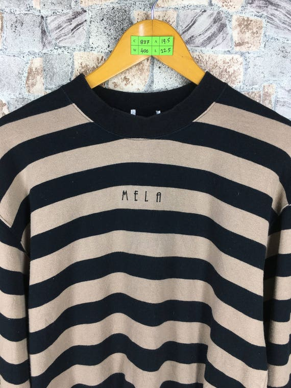 Distressed Style Jumper Jumper 1990's Grunge Stripes Black Size Vintage Striped Sweatshirt Sportswear Medium Sweaters M Brown qp7p8P