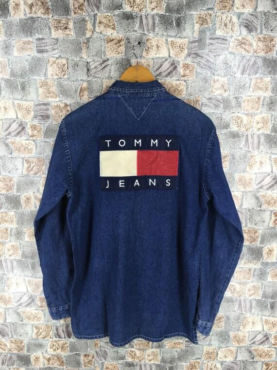 dc717395458b44 TOMMY JEANS Denim Shirt Large Vintage 90s Tommy Hilfiger Flag | Etsy