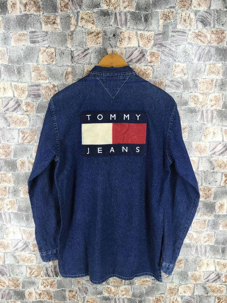 48cf56f5 TOMMY JEANS Denim Shirt Large Vintage 90s Tommy Hilfiger Flag | Etsy