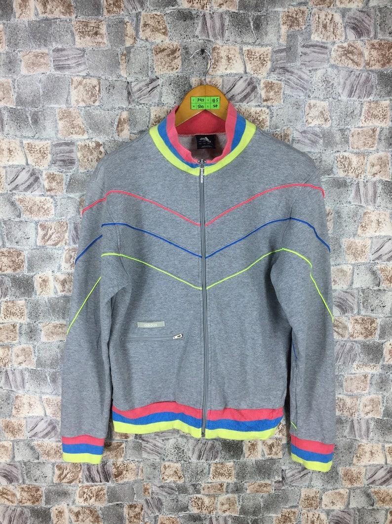 8cd1266736694 ADIDAS Track Top Jacket Ladies Large 90s Vintage Adidas Ahtletic Sport  Adidas Three Stripes Adidas Sweater Gray Jacket Women Size L