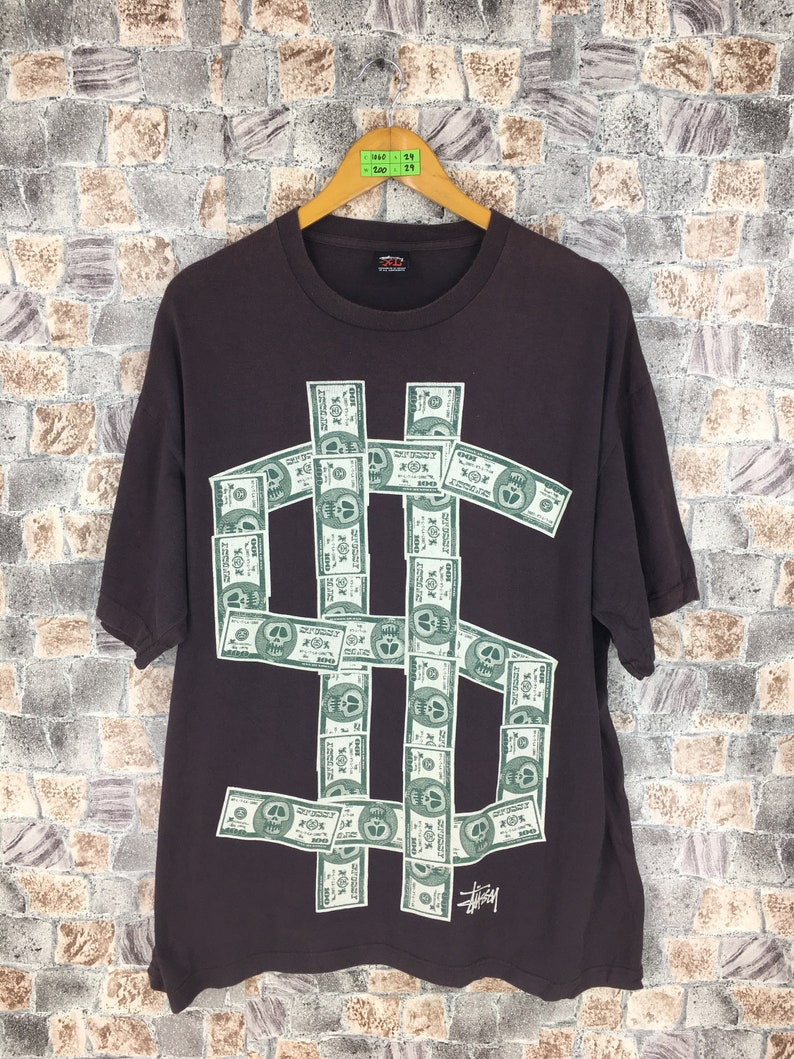 7f4d77325a Vintage STUSSY Tshirt XLarge 90 s Stussy Money Dollar