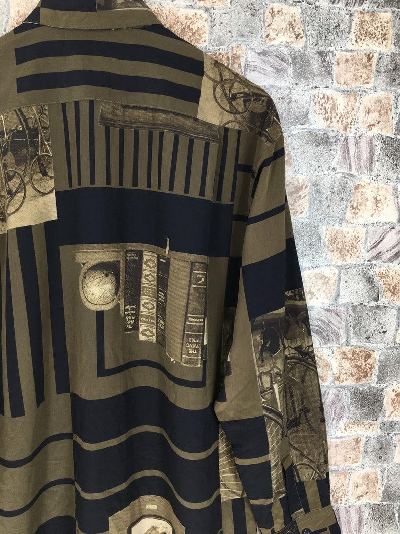 Vintage Polyester Blouse Shirt Large 1990/'s Pop Art Novelty Baroque Psychedelic Luxury Style Buttondown Oxfords Designer Shirt Size L