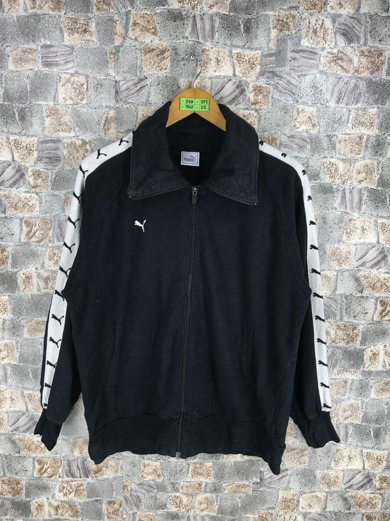 60daf9db21186 PUMA Zip Up Jacket Women Large Vintage 90s Puma Cougars Sweater Black  Sportswear Vintage 90s Puma Sweatshirt Size L