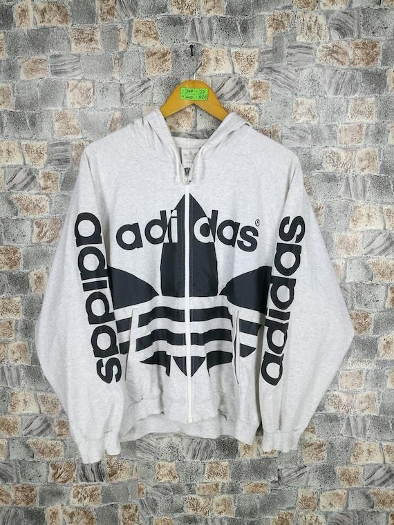 ADIDAS RUN DMC Sweatshirt Medium Vintage 90's Adidas Trefoil Big Logo Gray Hip Hop Adidas Sportswear Zipper Sweater Jacket Size M
