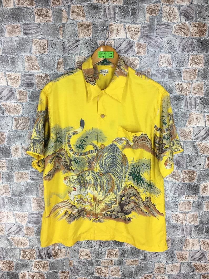 f9a923c40 Vintage 80s HAWAIIAN Tiger Roar Silk Shirt Medium Yellow Tiger | Etsy