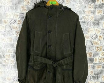 DENIME JAPAN Bomber Jacket Medium Vintage 90's Denime Jeans Single Breasted Trench Coat Warmest Jacket Parka Hoodie Olive Green Size M