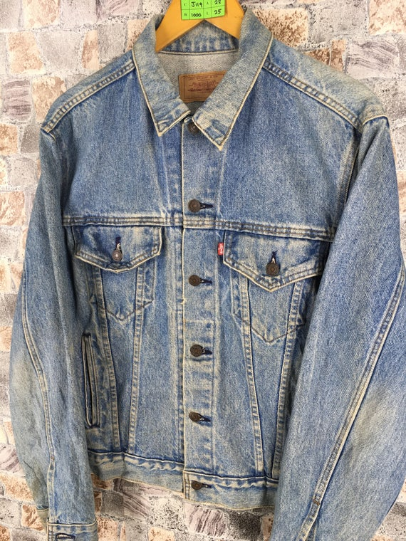 Levis Jeans Denim Jeans Medium M Stoned Jeans Jacket Size Levis Vintage Patch Trucker 1980s Button Wash Jacket Faded LEVIS Denim wqt71zA
