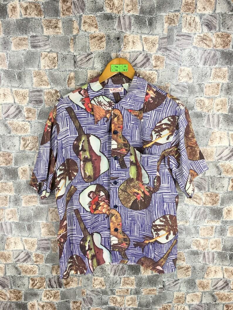 d9871087 Vintage Ukulele Hawaiian Shirt Medium 80s Hawaii Hula Girl Sun   Etsy