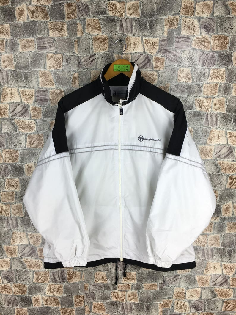 Vintage 90's Sergio Tacchini Windbreaker Jacket Medium Sergio Tacchini Italy Casual 80s White Windbreaker Jacket Training Size M