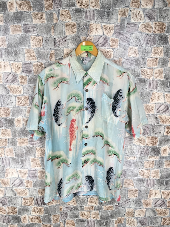 Size Hawaii Women Buttondown Shirt 80s Vintage Fish Fish Shirt Surf Japan Japan Beach Asian Pattern Gold M Men HAWAIIAN Koi Medium Rayon Ixwq8pRpH
