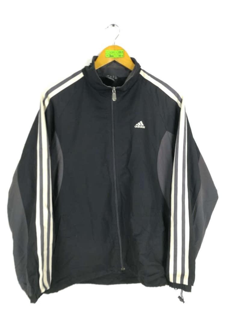 8e52705895a7a ADIDAS Windbreaker Jacket Large 90s Vintage Adidas Sportswear Adidas  Equipment Three Stripes Adidas Trefoil Windrunner Gray Jacket Size L