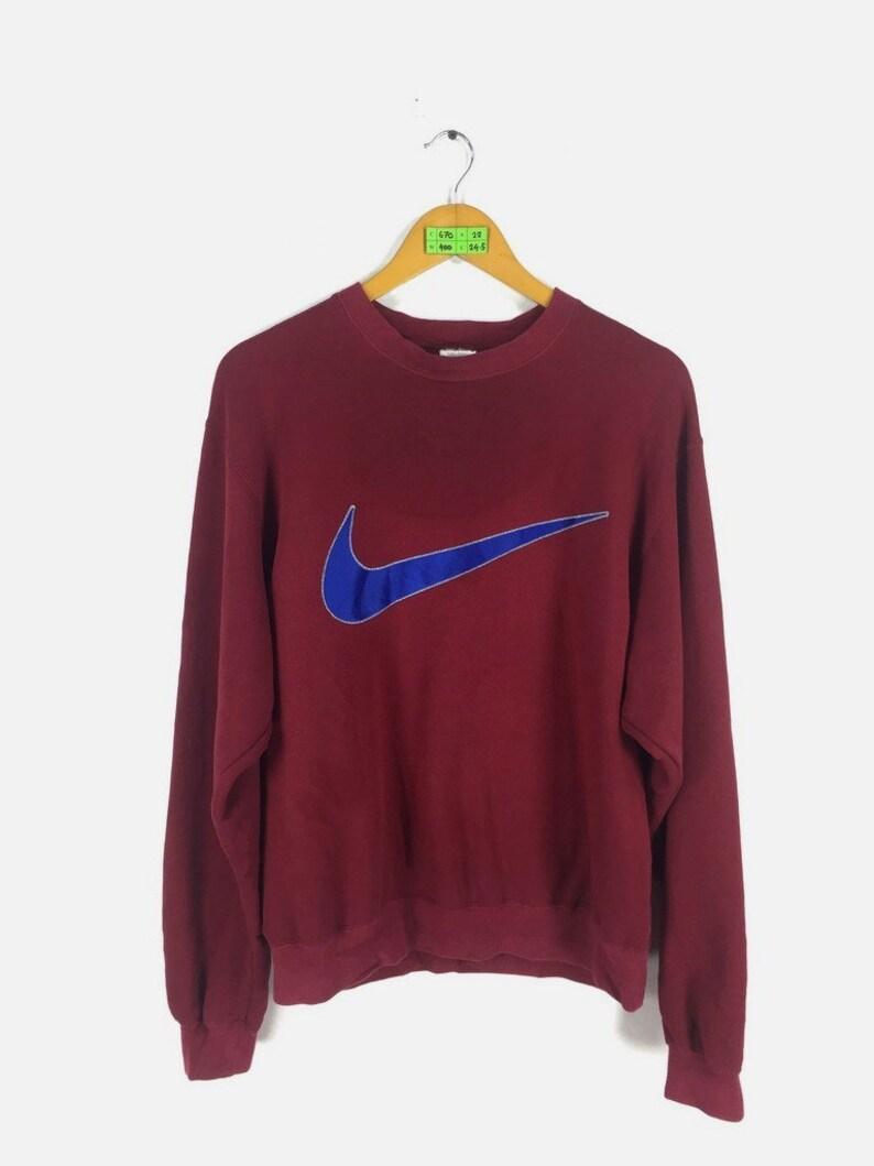 1213ab10ea3a6 Vintage 90's NIKE Jumper Mens/Women Medium Streetwear 1990's Nike Swoosh  Big Logo Pullover Red Sweaters Nike Og Sweatshirts Size M