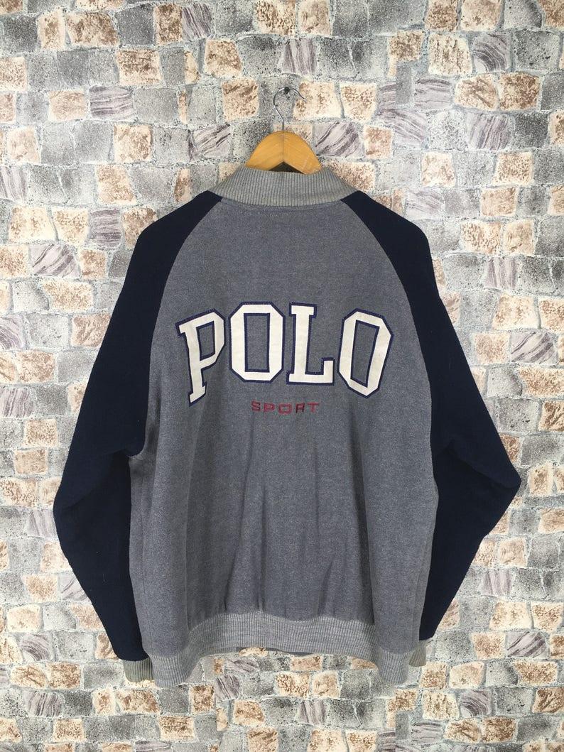 17f63a49f466 POLO SPORT Ralph Lauren Varsity Jacket Large Vintage 90s Polo