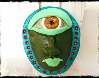 OOAK Cyclops Wall Pocket Sculpture Handmade Mixed Media Ceramic Clay Art
