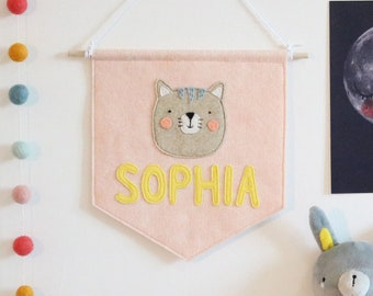 Personalised Name Kitty Cat Felt Banner