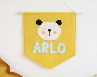 Personalised Name Panda Bear Felt Banner