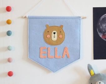 Personalised Name Bear Felt Banner