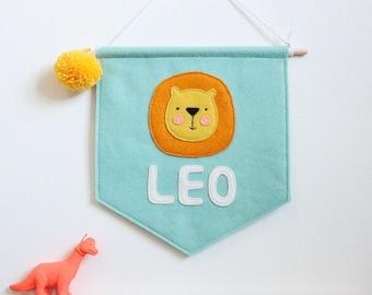 Personalised Name Lion Felt Banner