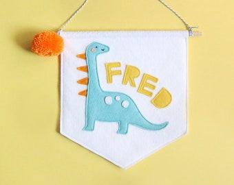 Personalised Name Dinosaur Felt Banner