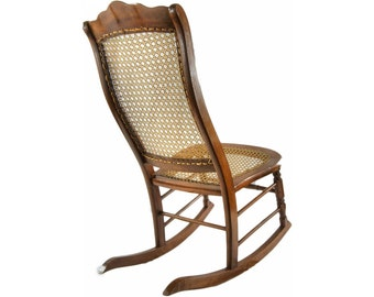 Superbe Antique Rocking Chair With Cane
