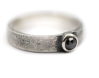 Sterling silver ring with salt /& pepper diamond Grey Diamond Sterling Silver Stacking Ring Size UK M  Size US 6.5