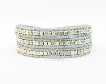 Silver plated beads wrap bracelet on light gray polyester cord, triple wrap bracelet, gray wrap bracelet