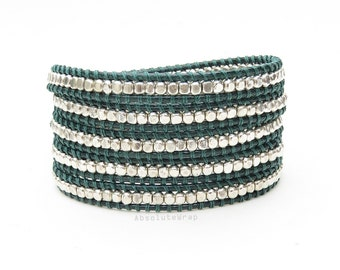Silver plated beads wrap bracelet on soft green polyester cord