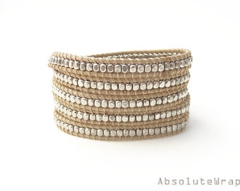 Silver plated beads wrap bracelet on soft beige polyester cord, tan