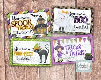 Baton twirler Halloween card  / twirl  Halloween cards / Halloween twirl printable / Halloween cards / twirler printable / Halloween print