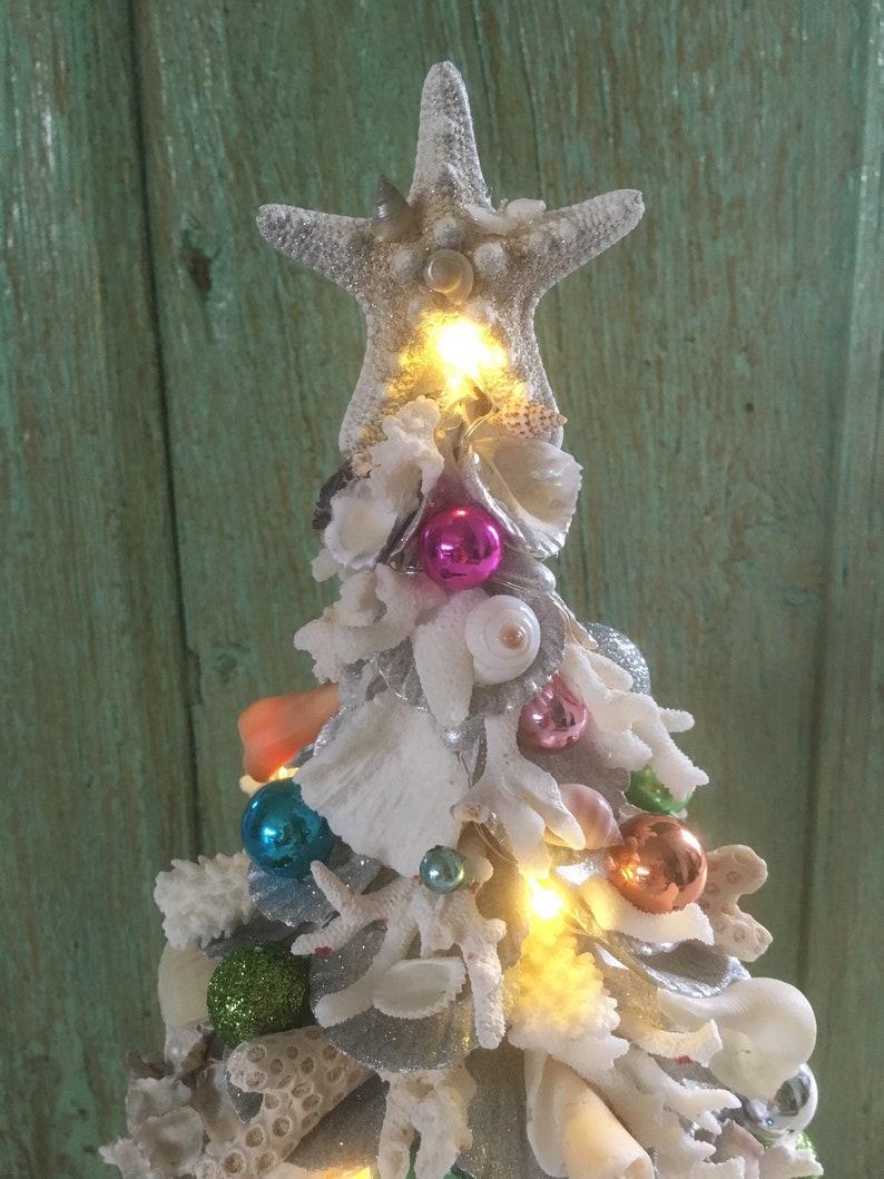 Handmade Coastal Coral Sheashell Pre Lit Christmas Tree with image 4