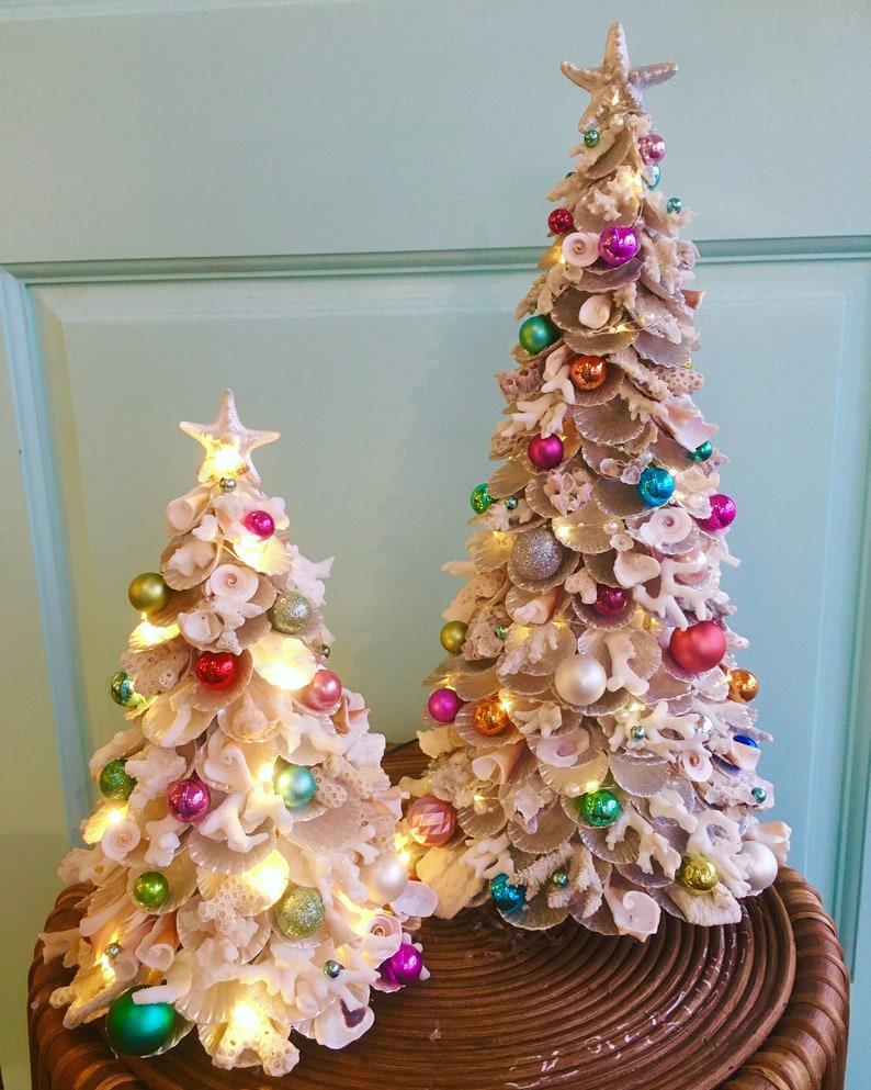 Handmade Coastal Coral Sheashell Pre Lit Christmas Tree with image 2