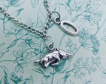 Silver Wild Pig Boar Necklace Hog Animal Jewelry Men/'s Pendant Women/'s Accessory Birthday Gift For Him Her Charm