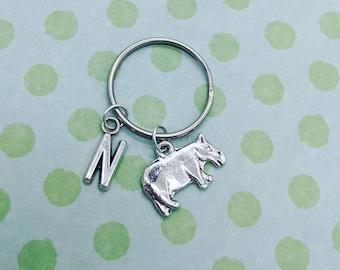 ❤ Hippo keyring with initial gifts bag charm hippopotamus animal nature safari