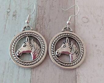 Horse earrings, horse jewelry, cowgirl earrings, farm earrings, rodeo earrings, animal earrings, animal jewelry, pony earrings,
