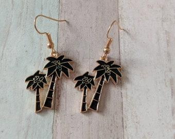Palm tree earrings, summer earrings, beach earrings, hipster earrings, surfer girl gift, tropical earrings, beach jewelry, gifts for her