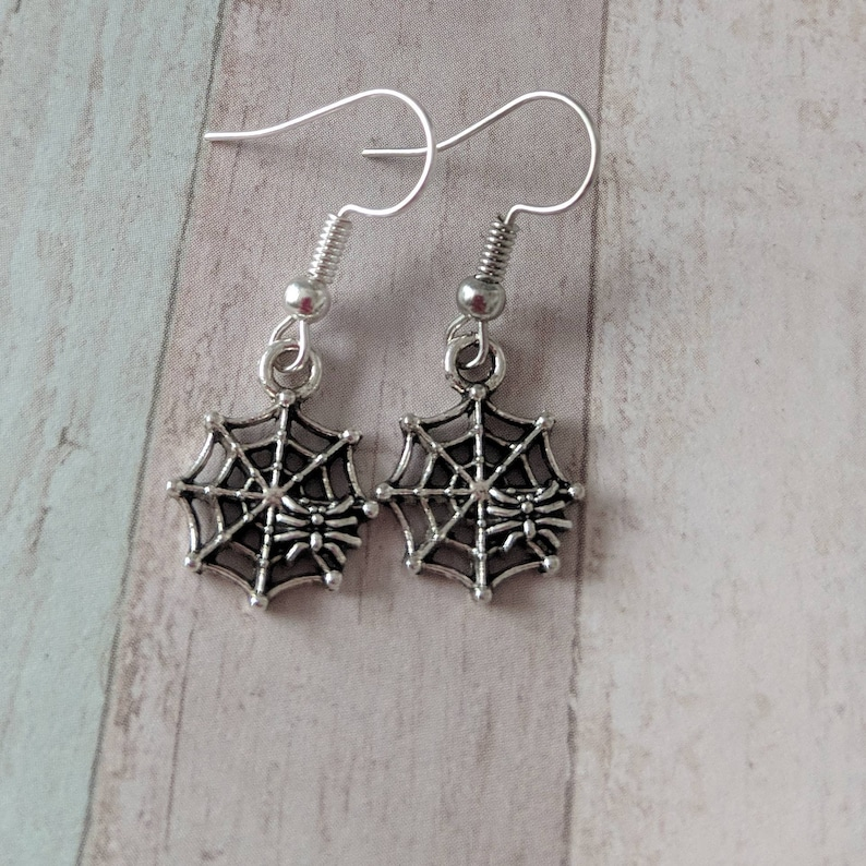 SPIDER ON WEB WICCA PAGAN CHARM 925 STERLING SILVER