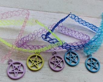 Pentagram choker, pentagram jewellery, witch jewellery, Wicca jewelry, wiccan gifts, gothic choker, Halloween choker, pagan jewellery