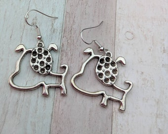 Dog earrings, dog jewelry, animal earrings, animal jewelry, pet earrings, pet jewelry, charm earrings, animal lover gift, gifts for her