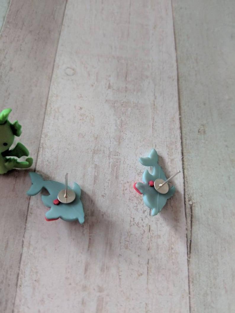 gifts for her cute earrings stud earrings Dragon earrings teen earrings fun earrings kawaii earrings kei jewelry dolphin earrings