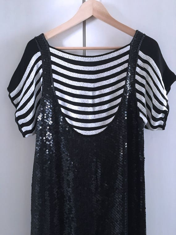 80's Sequin Beaded Striped Dress