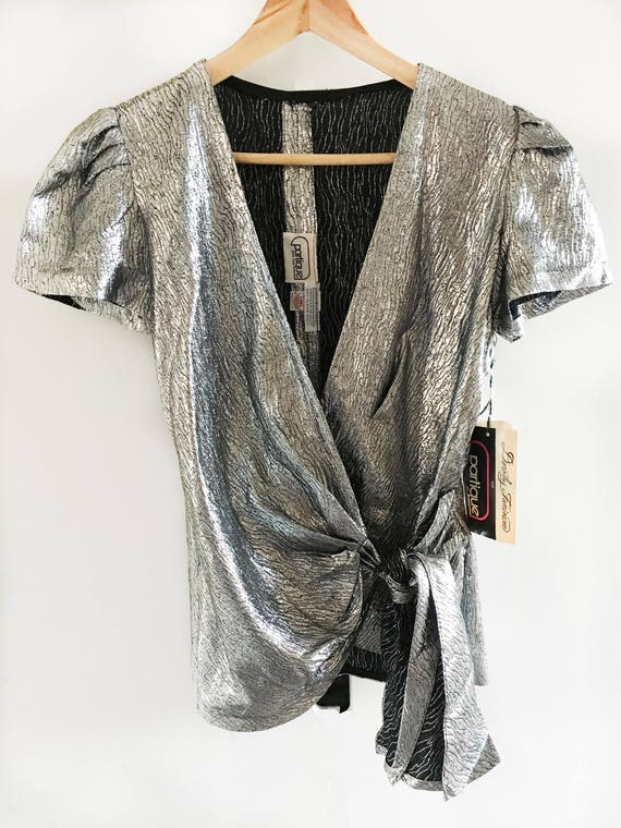 Deadstock 70's Silver Wrap Shirt Medium