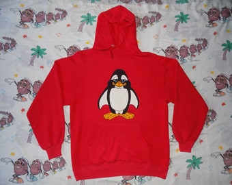 1f66aec3f77 Vintage 80 s Cartoony Penguin pullover Hooded Sweatshirt