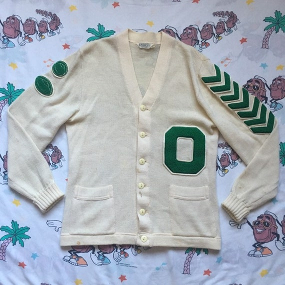 Vintage 50's Letterman Cardigan Sweater, size Smal
