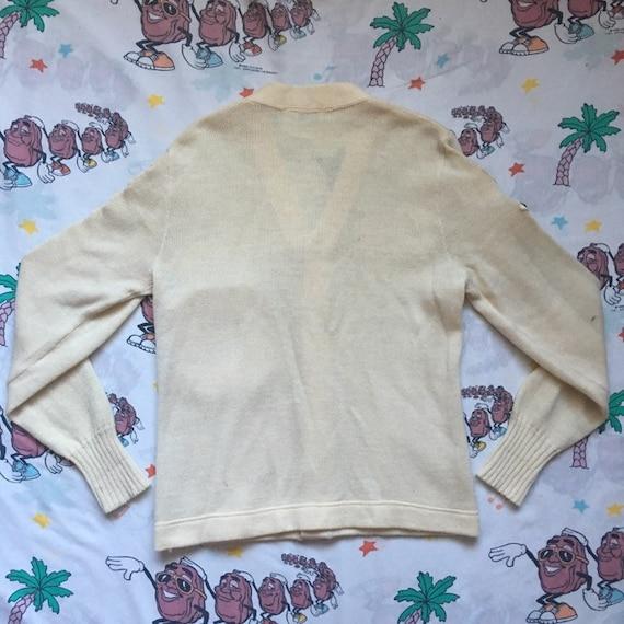 Vintage 50's Letterman Cardigan Sweater, size Sma… - image 9